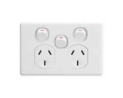 Clipsal C2025XA | Power Point Twin Switch, Classic, 250V, 10A, Removable Extra Switch | C2025XA-WE