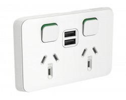 Clipsal Iconic 3025USB2 | Double Power Point with Dual USB Charger, 250V, 10A | 3025USB2-VW