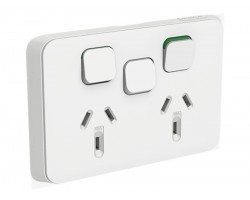 Clipsal Iconic 3025XA | Double Power Point extra Switch 10Amp 250v Vivid White | 3025XA-VW