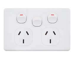 BEPGPODX | Double Power Point 10Amp with Extra Switch Classic Style
