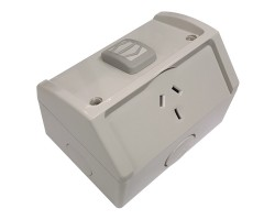 Clipsal WSC227/1/15   Single Weatherproof Power Point GPO 15Amp 250v IP53   Resistant Grey