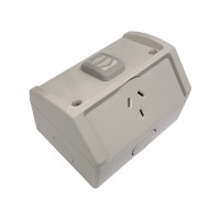 Clipsal WSC227/1 | Single Weatherproof Power Point GPO 10amp 250v IP53 | Resistant Grey