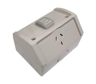 Clipsal WSC227/1 | Single Weatherproof Power Point GPO 10amp 250v IP53 | Resistant Grey