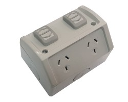 Clipsal WSC227/2   Double Weatherproof Power Point GPO 10amp 250v IP53   Resistant Grey