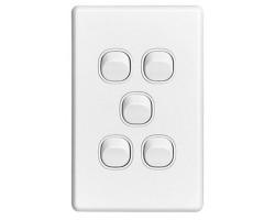 Clipsal C2035VA Flush Switch, 5 Gang, 250VAC, 10A, Classic C2000 Series, Standard, Vertical | C2035VA-WE