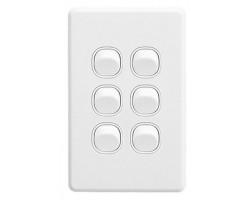 Clipsal C2036VA Flush Switch, 6 Gang, 250VAC, 10A, Classic C2000 Series, Standard, Vertical | C2036VA-WE
