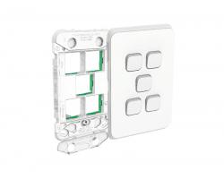 Clipsal Iconic 3045VH | Gridplate and Skin 5 Gang V/H vivid white | 3045VH-VW