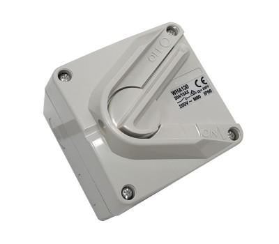 Clipsal WHA120   Weatherproof Isolator, Surface Switch, 1 Gang, 1 Pole, 250VAC, 20A, Hoseproof, M80 Rating 20Amp   WHA120-RG