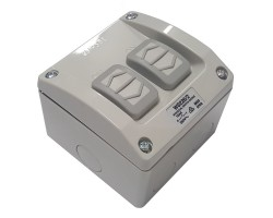 Clipsal WS226/2 | Weatherproof Surface Switch, 2 Gang, 250VAC, 16A, WS Series, M80 square | WS226/2-RG
