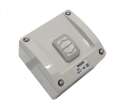 Clipsal WS226 | Weatherproof Surface Switch, 1 Gang, 1 Pole, 250VAC, 16A, WS Series, M80 - square | WS226-RG